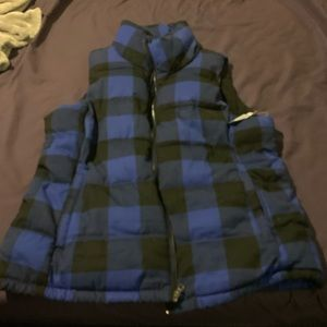 Old navy blue plaid puffer vest XL